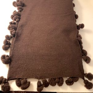 Echo Brown Scarf with Cute Ball Fringe EUC